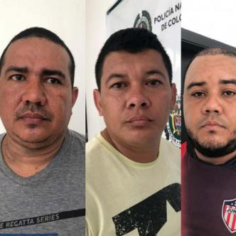 Sujetos implicados en el robo del cajero automático en Santo Tomás.   Cortesía