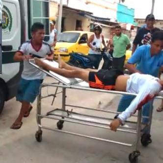Momento en que Danny Daniel Villa ingresaba herido al Hospital General de Barrranquilla.