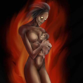 Según la leyenda Eladia murió quemada junto a su bebé.   Ilustración: Luis Herrera Molina