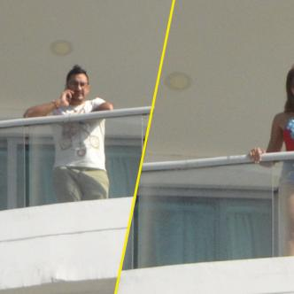 James Rodríguez y la venezolana Shannon de Lima asomados al balcón. | José Puente Sobrino