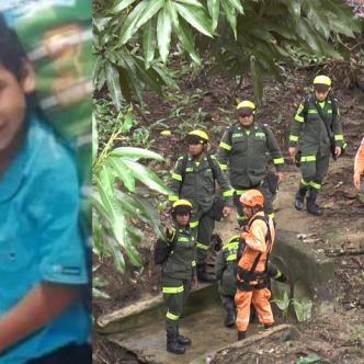 Personal de la Defensa Civil, Policía Metropolitana y Ejército realizan la búsqueda del menor en el río Minca.