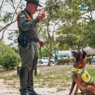 El subintendente Alexander López, guía de Rambo, le enseña su pelota favorita al canino.