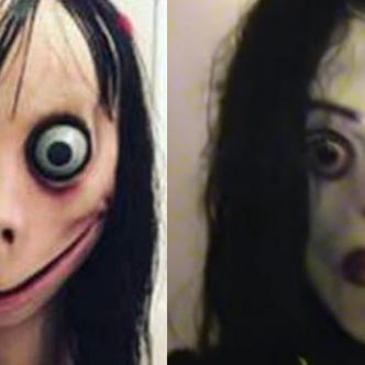 De izquierda a derecha, esta es la imagen de 'Momo' que aparece en los videos y 'Ayuwoki' es la figura creada con la historia de terror.