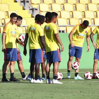 Entrenamiento de la Selección Colombia previo al juego de hoy ante los costarricenses en Nueva York, que arrancará desde las 7:00 p. m.