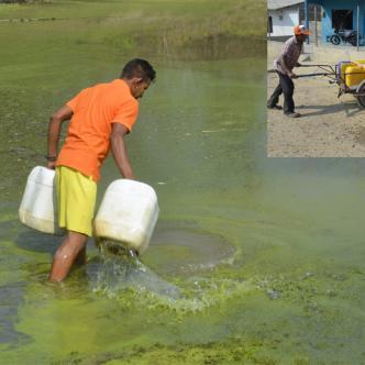 Luis Daniel Santos Carmona trata de limpiar el agua para recoger la menos sucia. David Carmona lleva 16 años vendiendo agua en pimpinas en El Jordán y sus alrededores.
