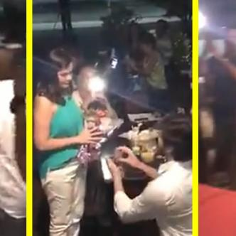 Escena al momento de la propuesta de matrimonio | Captura de video en Facebook