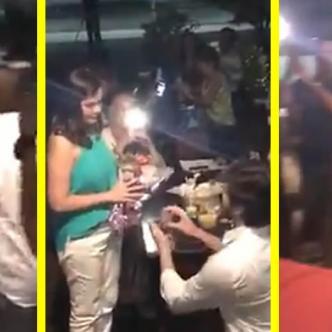 Escena al momento de la propuesta de matrimonio | Captura de video en Facebook