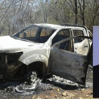 La camioneta de Juan Felipe Ustáriz (recuadro), fue hallada incinerada con el cuerpo de una persona dentro.