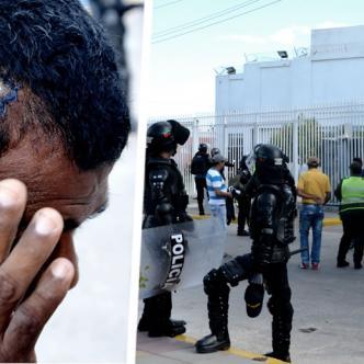 José Luis Vanegas, muestra la herida que le dejó una piedra lanzada desde el Cento de Internación de los Menores   Héctor Palacio