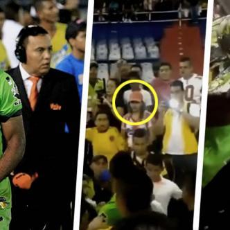 Momento de la agresión en contra del delantero Miguel Ángel Borja por parte de una hincha del Junior | ALDÍA.CO