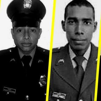 De izquierda a derecha patrulleros Anderson René Cano Arteta, Freddys de Jesús Echeverría Orozco, Yosimar Márquez Navarro