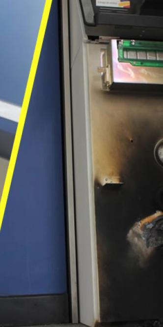 Estado en que quedó el cajero automático después del intento de robo.   Al Día