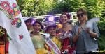 Los reyes de los niños en compañía de Carolina Segebre, reina del Carnaval de Barranquilla, y la directora Carla Celia, durante la izada de bandera | Luis Rodríguez