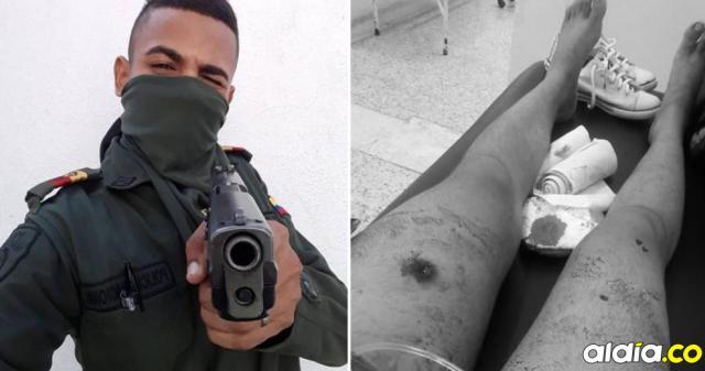 Yelmer Heberto Pérez, el auxiliar involucrado en el hecho. En la imagen de la derecha, la adolescente baleada.   Suministrada