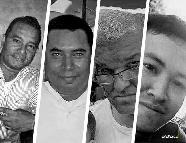 John Fredy Sánchez Escorcia, 31 años; Jorge Pertúz Marriaga, 40 años; Edison Hernando Álvarez Gómez, 56 años; Heberth Antonio Rojano Esparragoza, 27 años. | AL DÍA