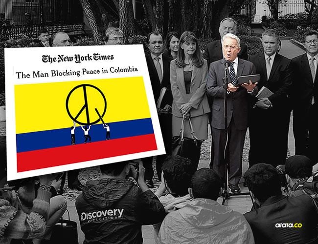 El expresidente y senador colombiano Álvaro Uribe realiza una declaración al finalizar el encuentro con el presidente colombiano, Juan Manuel Santos, en a la Casa de Nariño / EFE/MAURICIO DUEÑAS CASTAÑEDA