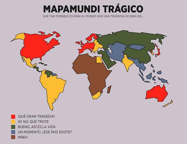 Eduardo Salles publicó el mapa trágico de occidente, donde responde a la pregunta ¿Qué tan terrible es para el mundo que una tragedia suceda en…? | Eduardo Salles/CinismoIlustrado.com